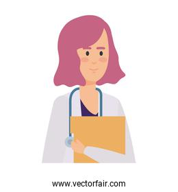 female doctor with stethoscope and documents