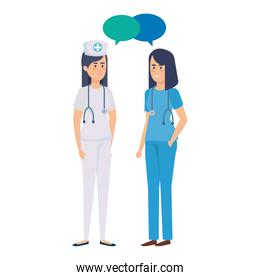 two female doctor  with nurse talking