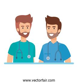 doctors with stethoscopes characters