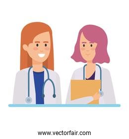 female doctors with stethoscope characters