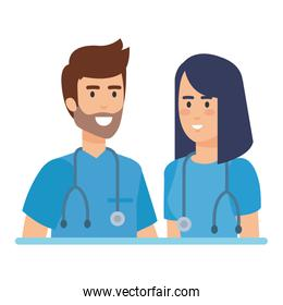 doctors couple with stethoscopes characters