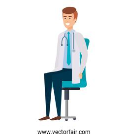 doctor sitting in office chair