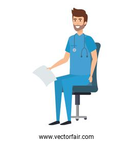 practitioner sitting in office chair with medical order