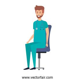 general practitioner sitting in office chair