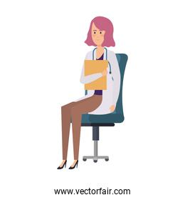 female doctor sitting in office chair