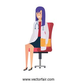 female doctor sitting in office chair isolated icon