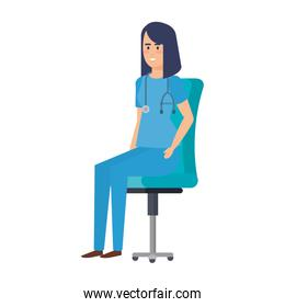 female practitioner in office chair character