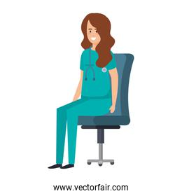 female practitioner in office chair