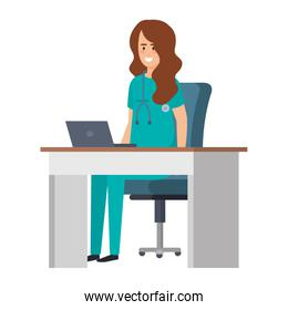 female practitioner in consulting room isolated icon