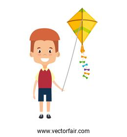 cute little boy playing with kite