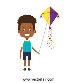 cute little boy black playing with kite