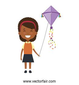 beautiful little girl black playing with kite character