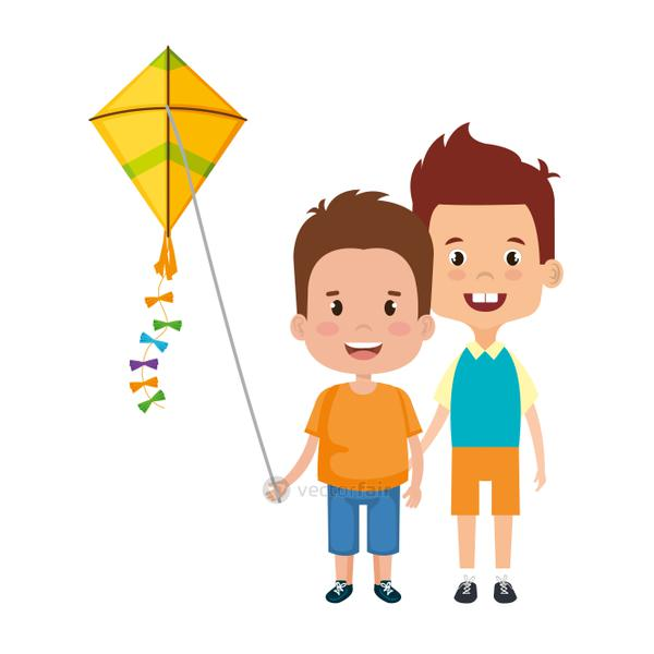 kids boys with kite flying