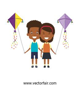 black kids couple with kite flying