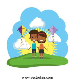 black kids couple with kite flying in the field