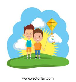 kids boys with kite flying in the field