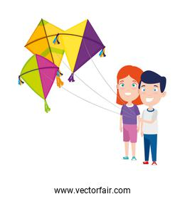 kids couple with kite flying