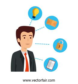 elegant businessman with set business icons