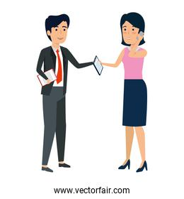 business couple with smartphone avatars characters