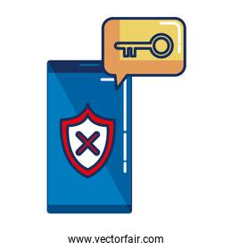smartphone with shield security and key