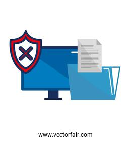 desktop with shield and folder documents