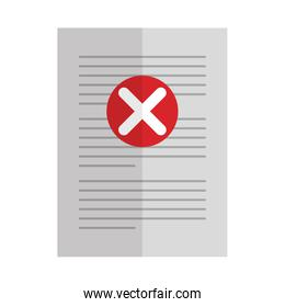 paper with denied mark icon