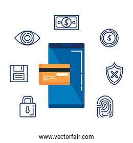 smartphone with credit card and security icons