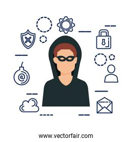 hacker avatar with security set icons