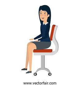 businesswoman sitting in office chair character