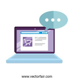 laptop with speech bubble and ecommerce
