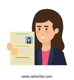 business woman with curriculum vitae
