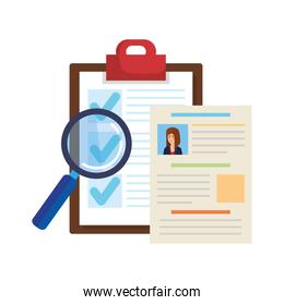 curriculums vitaes with magnifying glass and checklist