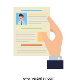 hand with curriculum vitae document
