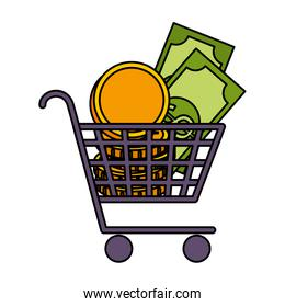supermarket shopping cart with coins and bills