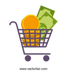 supermarket shopping cart with coins and bills dollars
