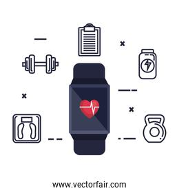 smartwatch with cardiology app and fitness icons
