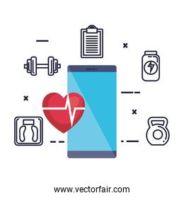 smartphone with fitness app and set icons