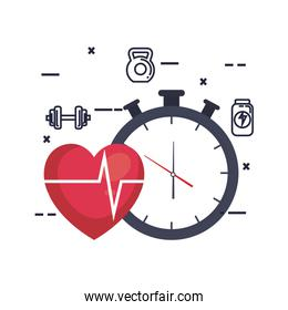 heart cardiology with chronometer and fitness icons