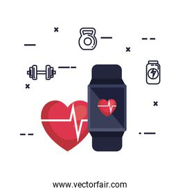 smartwatch with cardiology app and fitness designs