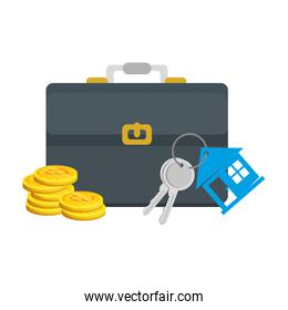keys of house property with briefcase and bitcoins