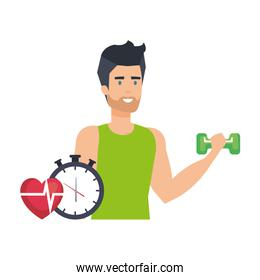 strong man lifting weight with chronometer
