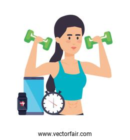 woman lifting weight with gadget and chronometer