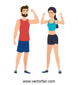 strong couple lifting weight