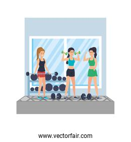strong women lifting weight in the gym