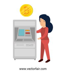 woman with atm bitcoin machine vector illustrator