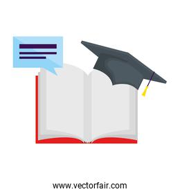 text book with speech bubble and hat graduation
