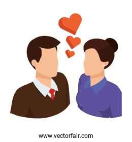 business couple with hearts avatars characters