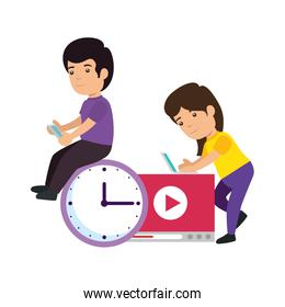 kids couple with clock and media player