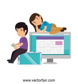 kids couple with desktop and computer