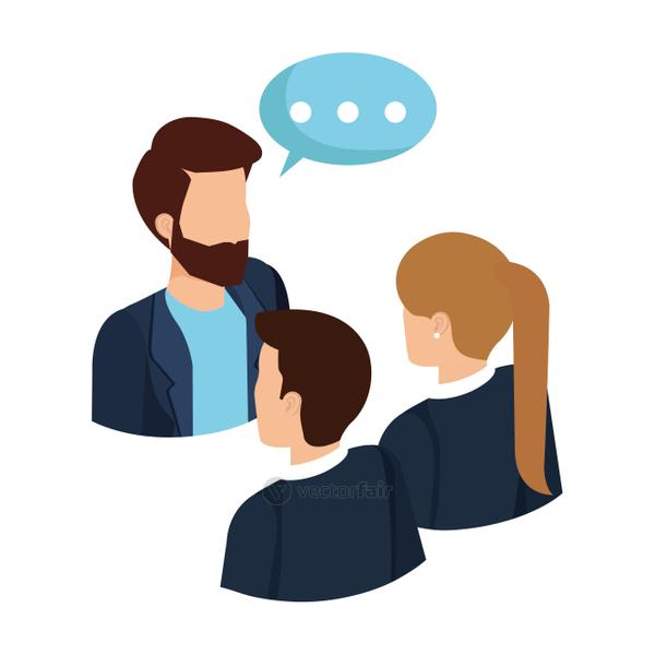 business people talking with speech bubble